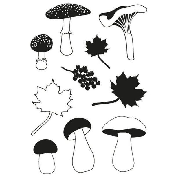 Clear stamps A6 svampar & löv för 30 kr