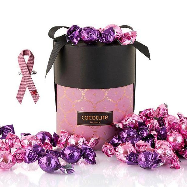Cylinderbox choklad med rosa bandet för 335 kr