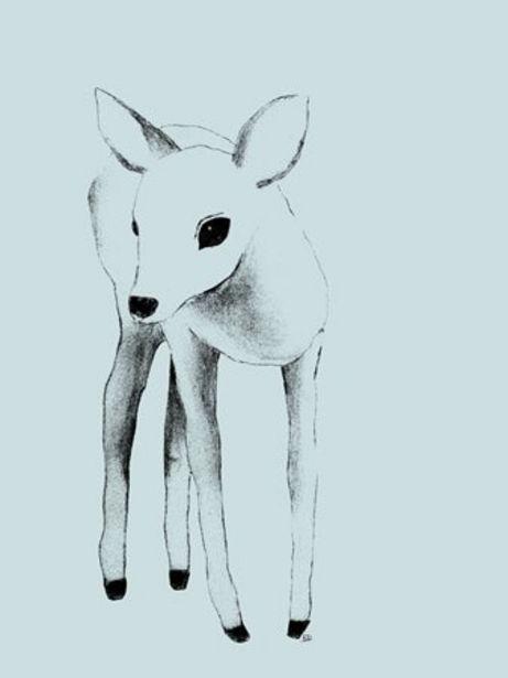 Lilou Lilou Poster Deer 50x70, Grön för 29 kr