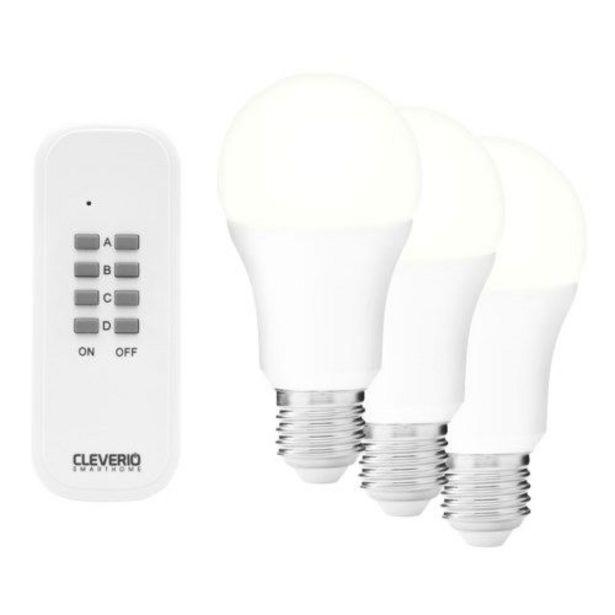 Cleverio Fjärrstyrda lampor E27 600 lm 3-pack för 99,9 kr