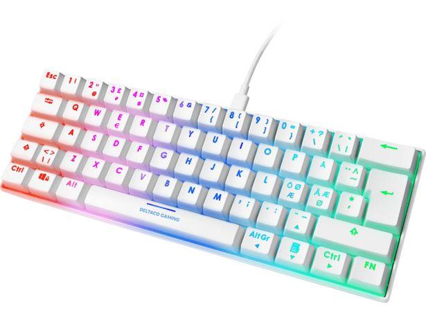 DELTACO GAMING WK85 Gaming tangentbord, RGB, TKL, Röda brytare - Vit för 499 kr