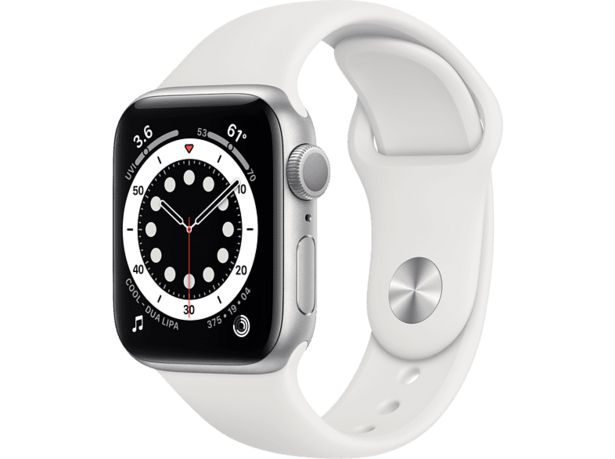 APPLE Watch Series 6 GPS 40mm Aluminiumboett i Silver - Sportband i Vitt för 3590 kr