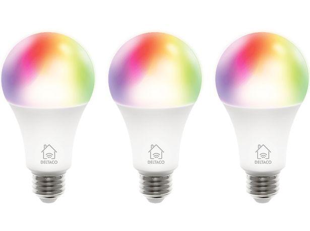 DELTACO SMART HOME 3-pack RGB LED-lampa, E27, WiFI 2,4GHz, 9W, 810lm, dimbar, 16 miljoner färger, 220-240V, vit för 259 kr
