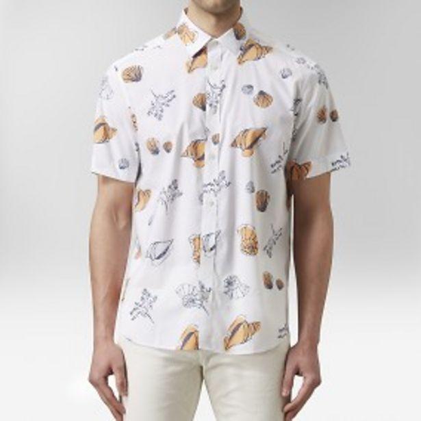 Blecket kortärmad skjorta vit för 149 kr