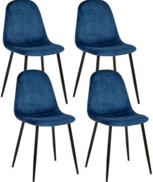IBEN Stol 4-pack blå sammet, metall matt svart, 53,5x44,5x85 för 1995 kr