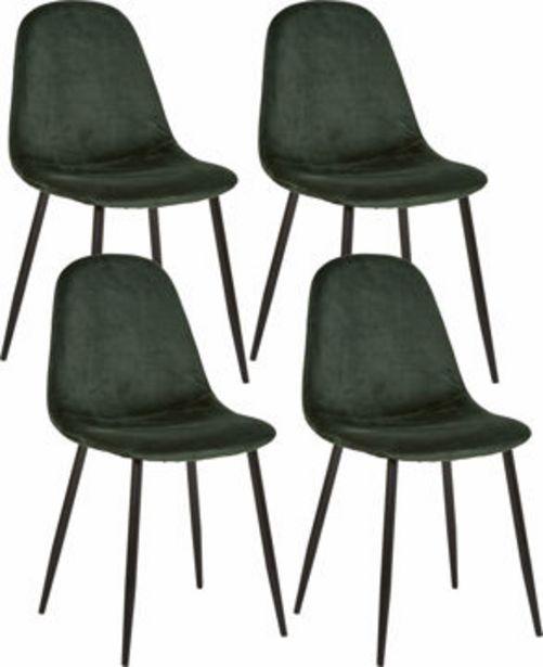 IBEN Stol 4-pack grön sammet, metall mattsvart, 53,5x44,5x85 för 1995 kr
