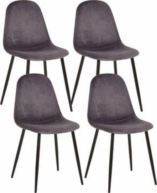 IBEN Stol 4-pack grå sammet, metall matt svart, 53,5x44,5x85 för 1995 kr