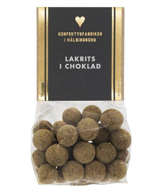Lakrits i choklad i cellofanpåse för 59 kr