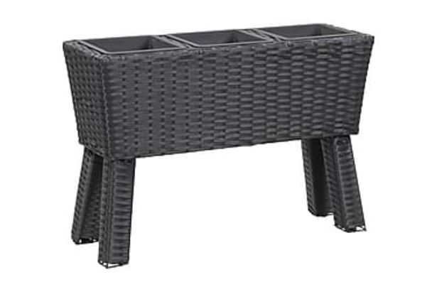 Odlingslåda upphöjd 3 krukor 72x25x50 cm konstrotting svart för 995 kr