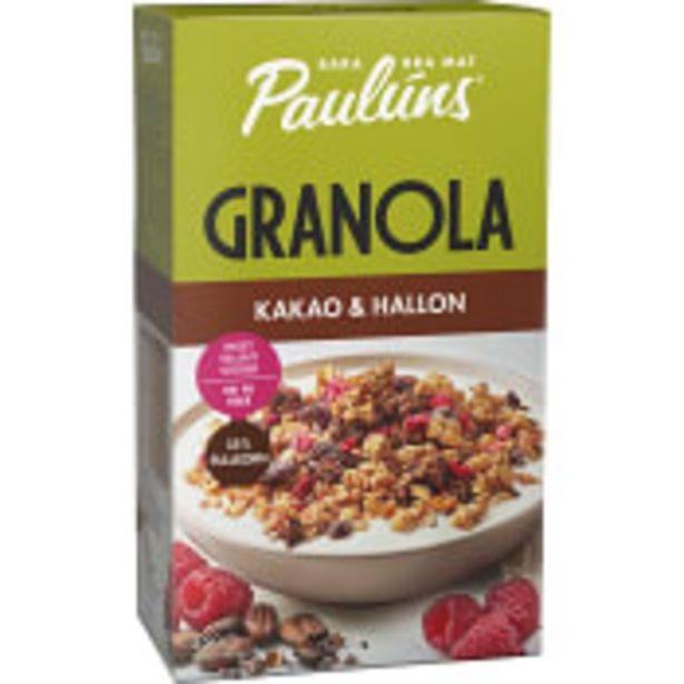 Granola Kakao & hallon 450g Paulúns för 52,9 kr