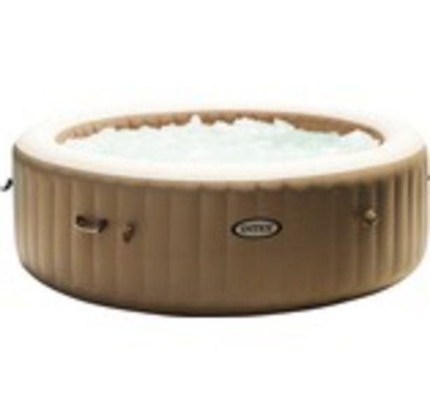 Uppblåsbart spabad INTEX Pure Spa 77 128426 Bubble Massage beige Ø196x71cm integrerat kalkskyddssystem 120 luftmunstycken inkl. termopoolöverdrag för 6895 kr