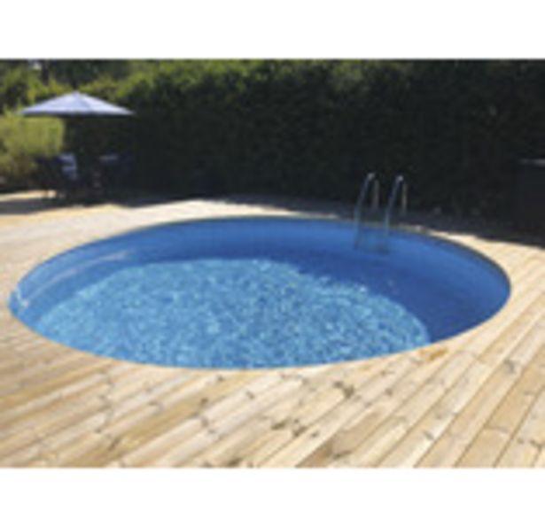 Rund stålväggspool Premium 3,5x1,2m 10500L inkl. blå liner, stege, sandfilterpump för 16995 kr
